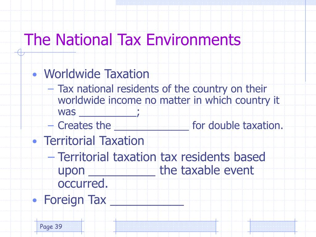 The National Tax Environments