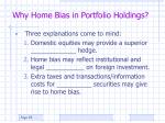 why home bias in portfolio holdings