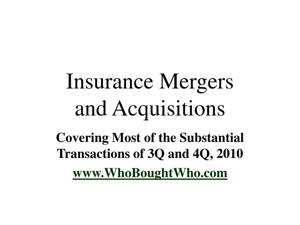 insurance mergers and acquisitions l.