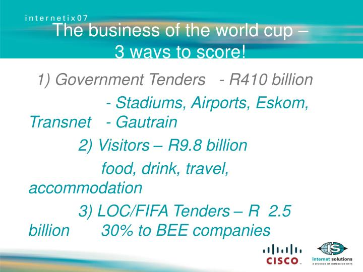 The business of the world cup –