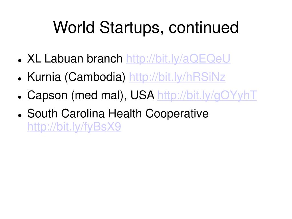 World Startups, continued