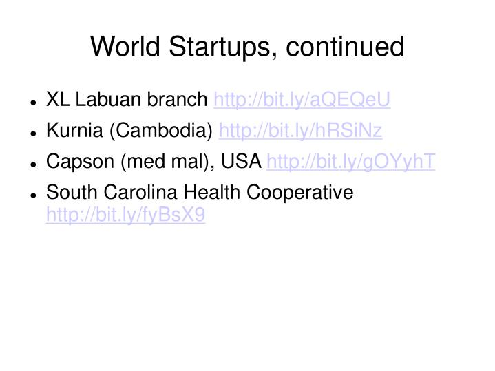 World startups continued