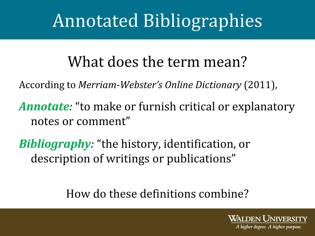 writing a critical annotated bibliography