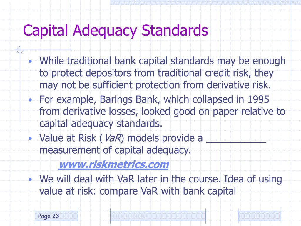 Capital Adequacy Standards