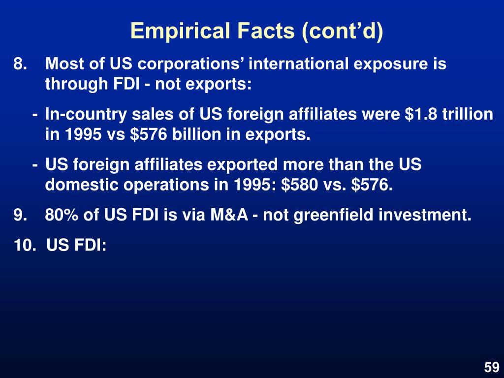 Empirical Facts (cont'd)