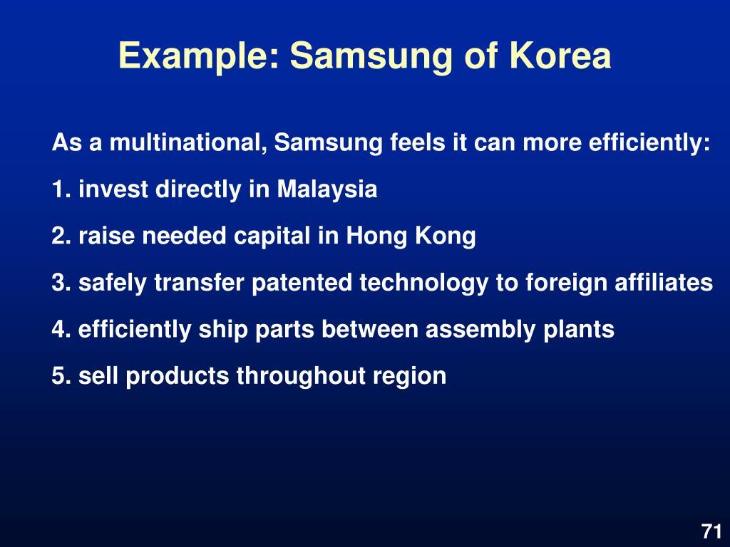 Example: Samsung of Korea