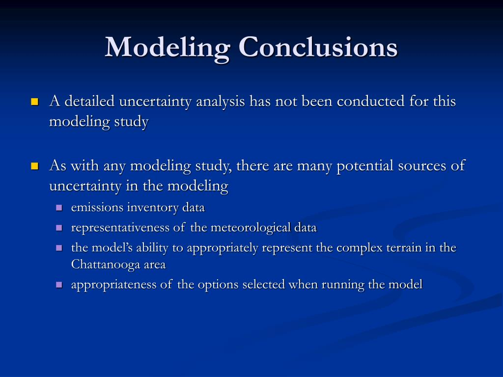 Modeling Conclusions