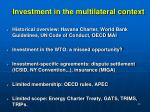 investment in the multilateral context