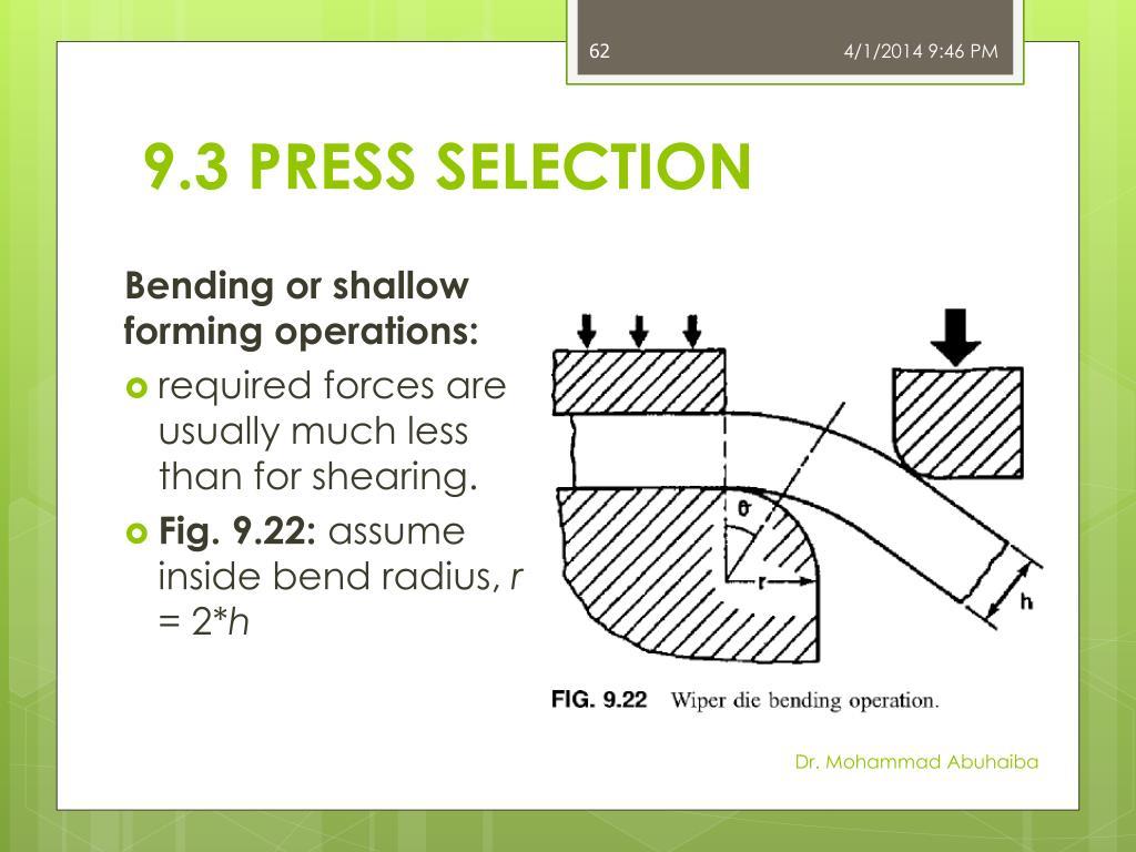 9.3 PRESS SELECTION