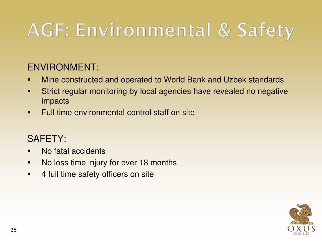 AGF: Environmental & Safety