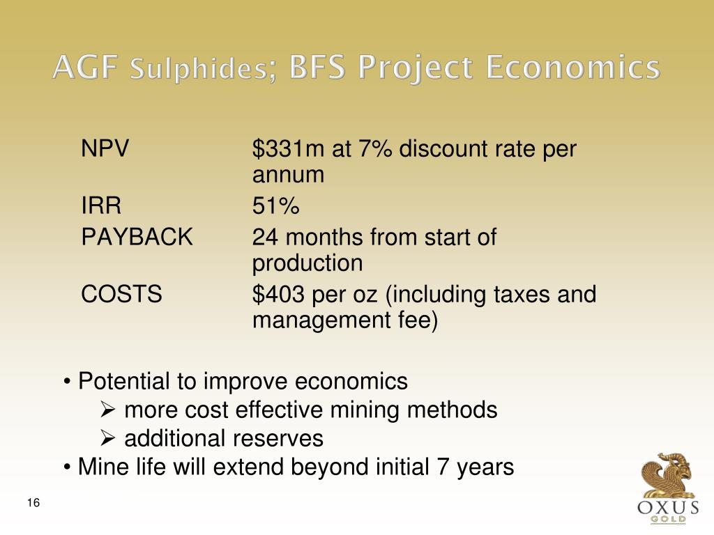 NPV$331m at 7% discount rate per annum