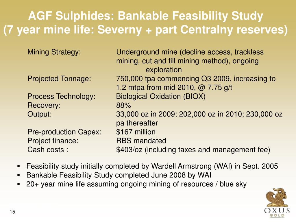 AGF Sulphides: Bankable Feasibility Study
