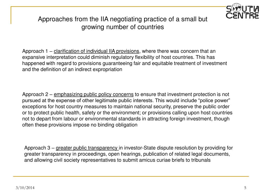 Approaches from the IIA negotiating practice of a small but growing number of countries