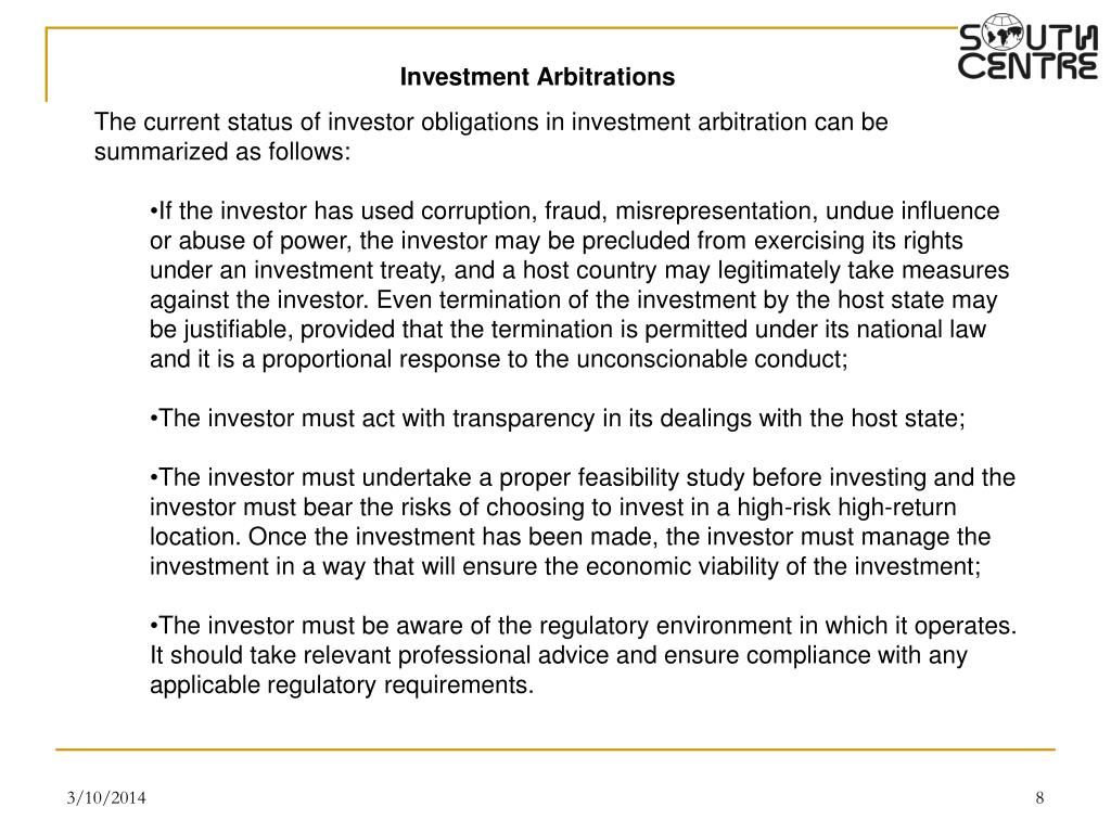 Investment Arbitrations