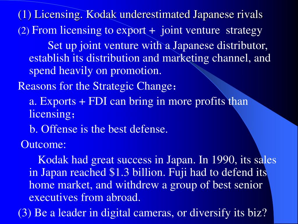 (1) Licensing. Kodak underestimated Japanese rivals