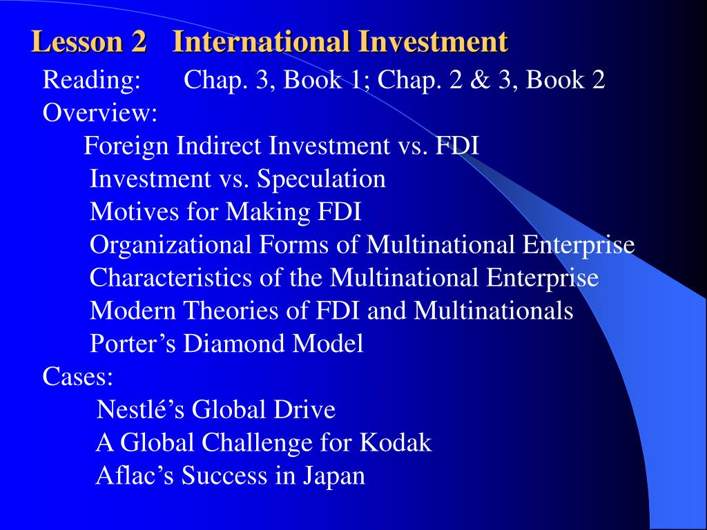 Lesson 2	International Investment