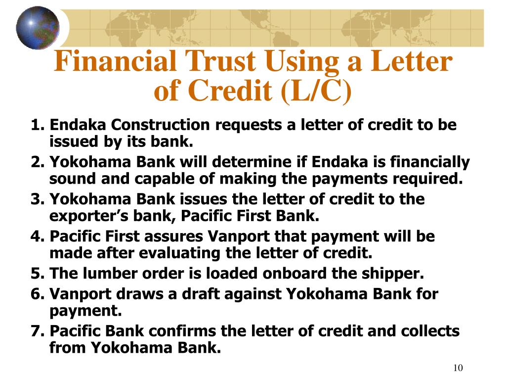 Financial Trust Using a Letter of Credit (L/C)