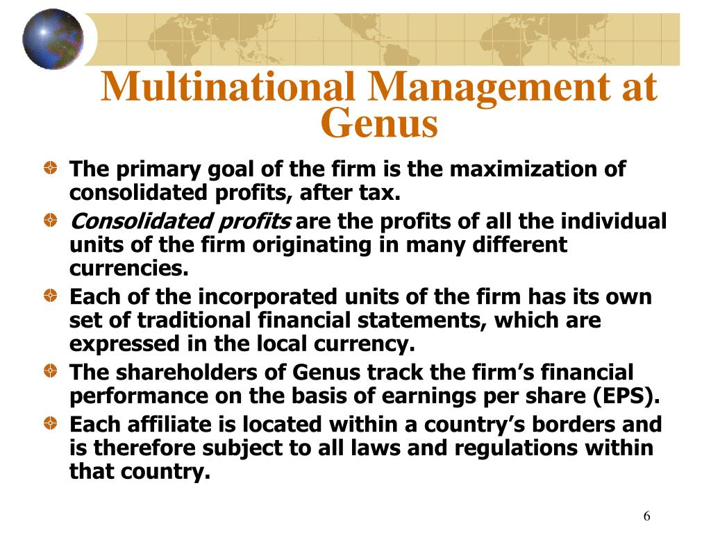 Multinational Management at Genus