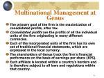 multinational management at genus