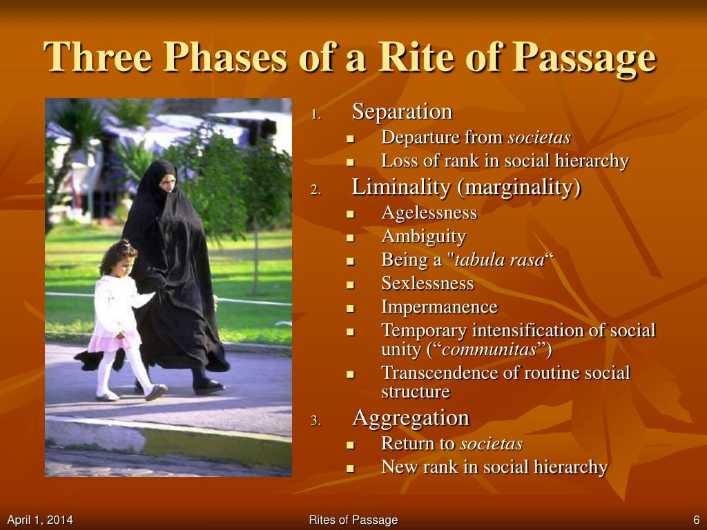 the rites of passage and liminality Pregnancy, a major life transition, significantly impacts aspects of a womans physical, psychological and social self theoretical perspectives of pregnancy are compared in terms of their utility.