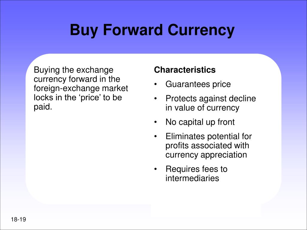 Buying the exchange currency forward in the foreign-exchange market locks in the 'price' to be paid.