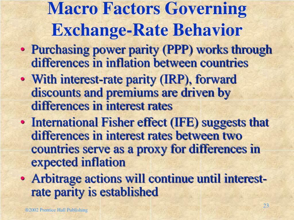 Macro Factors Governing Exchange-Rate Behavior