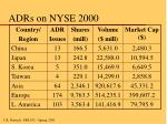 adrs on nyse 2000