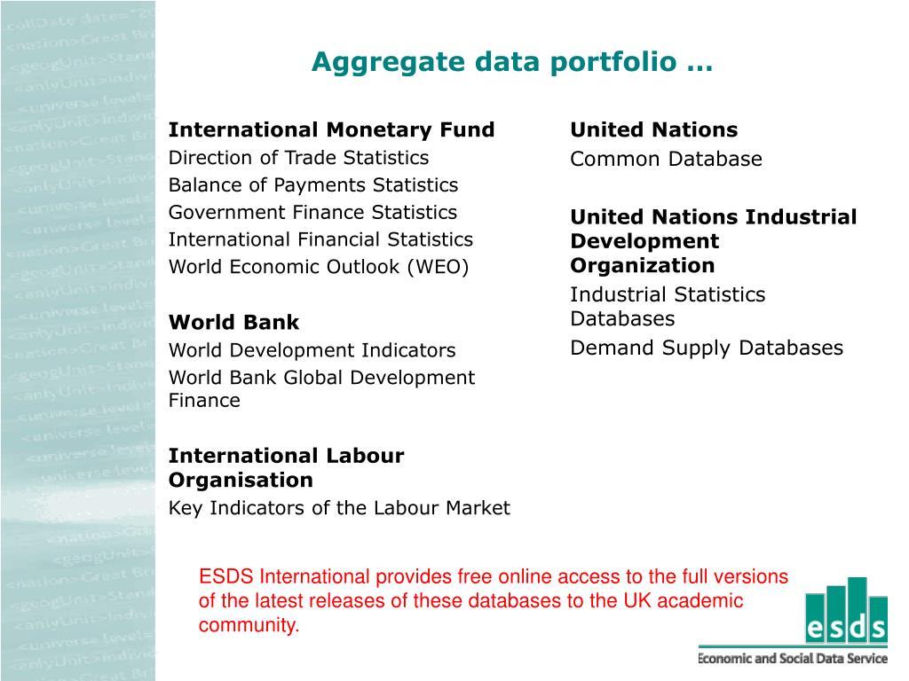 Aggregate data portfolio …