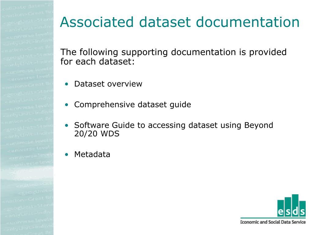 Associated dataset documentation