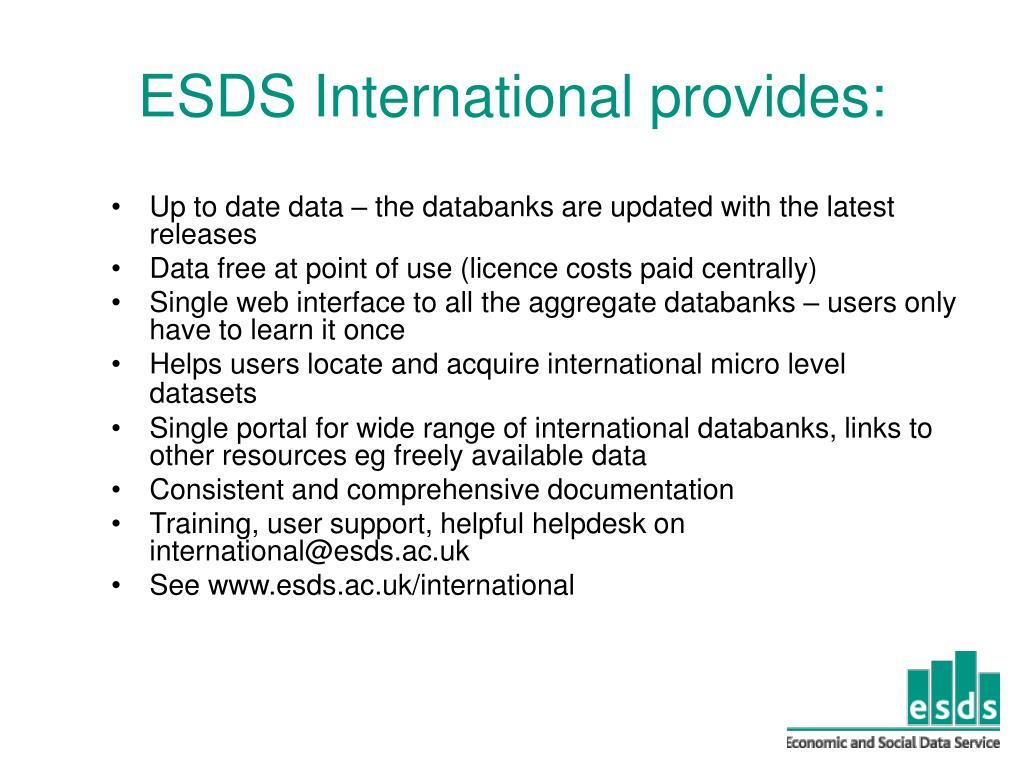 ESDS International provides: