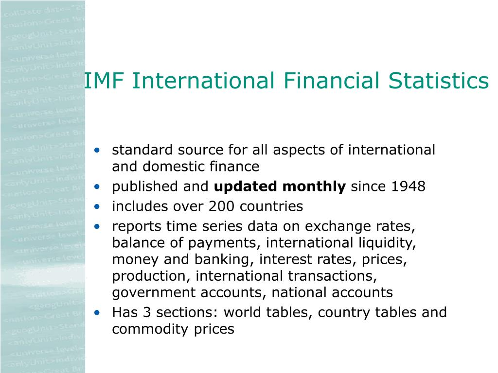IMF International Financial Statistics