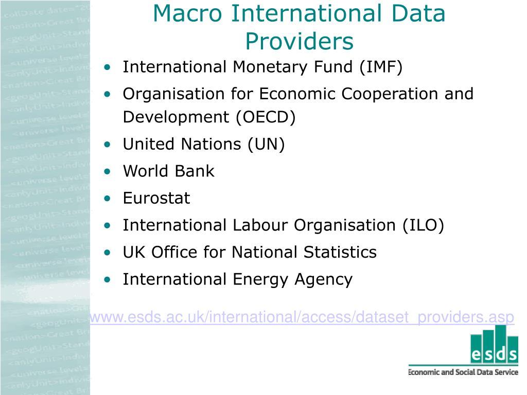 Macro International Data Providers