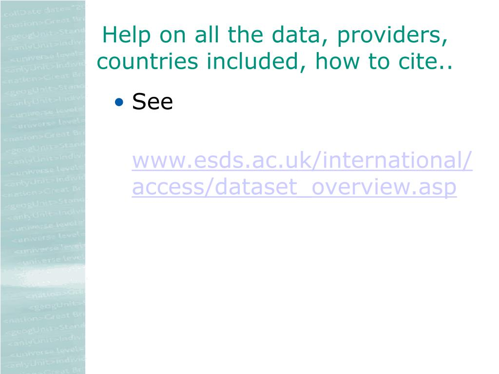Help on all the data, providers, countries included, how to cite..