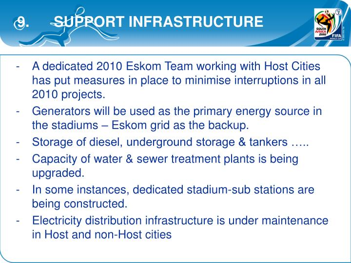 9.      SUPPORT INFRASTRUCTURE
