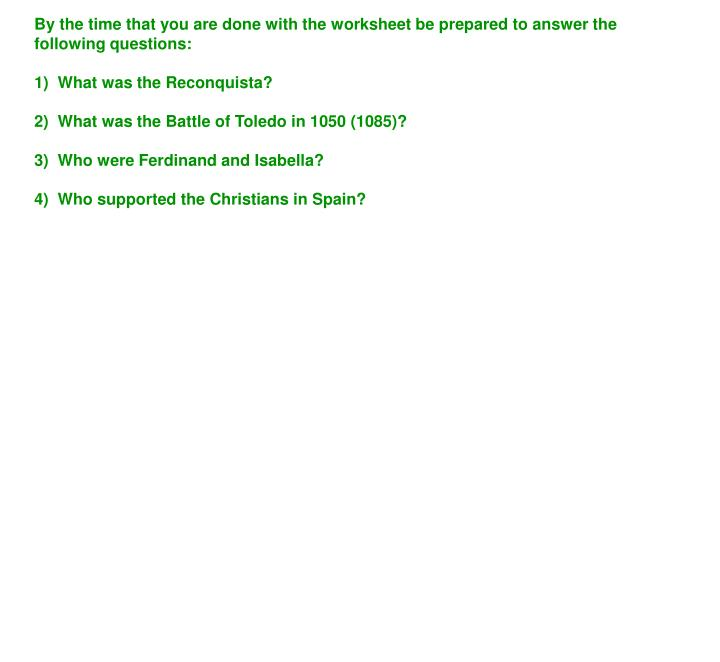 By the time that you are done with the worksheet be prepared to answer the following questions: