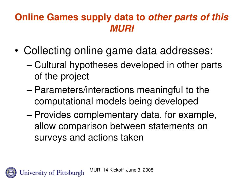 Online Games supply data to