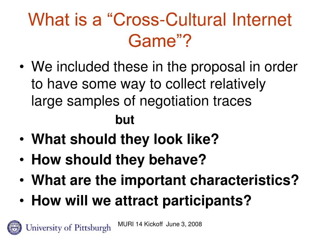 """What is a """"Cross-Cultural Internet Game""""?"""