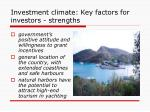 investment climate key factors for investors strengths