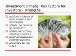 investment climate key factors for investors strengths1