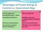 advantages of private ratings controls vs government regs