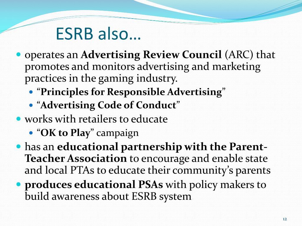 ESRB also…