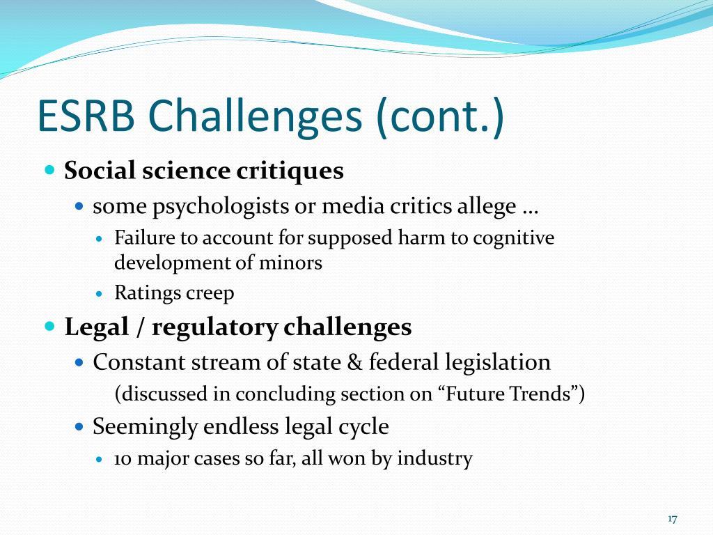 ESRB Challenges (cont.)