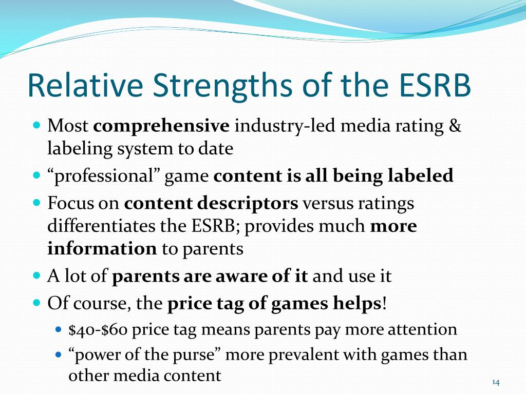 Relative Strengths of the ESRB