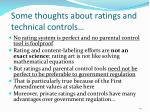 some thoughts about ratings and technical controls