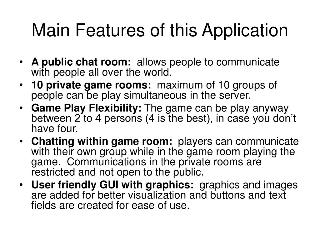 Main Features of this Application