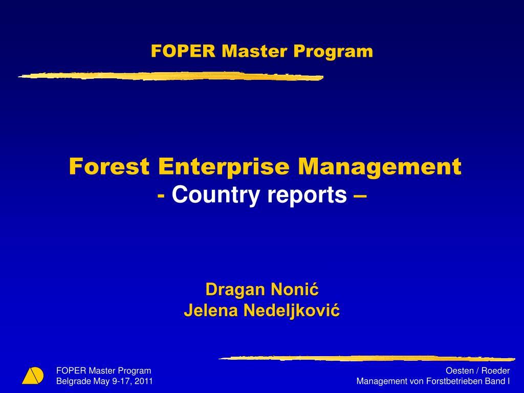 FOPER Master Program