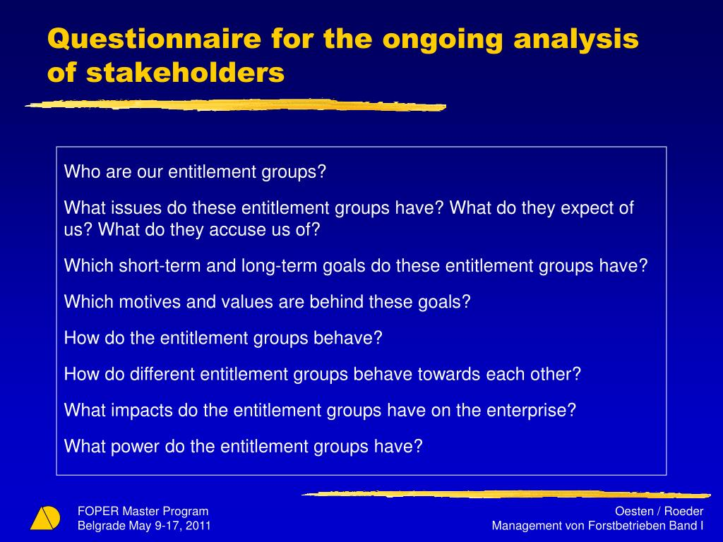 Questionnaire for the ongoing analysis of