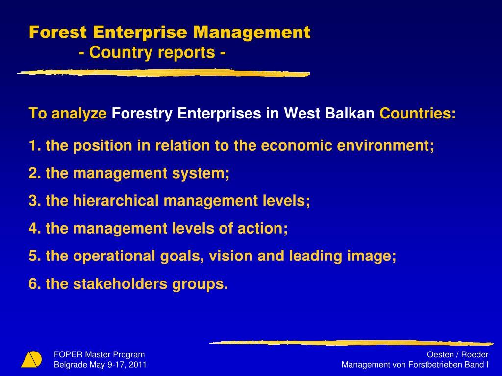Forest Enterprise Management