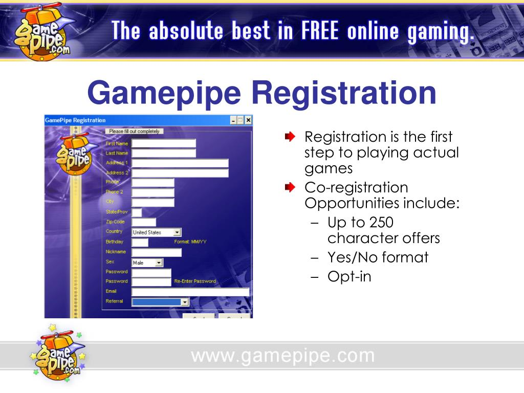 Gamepipe Registration