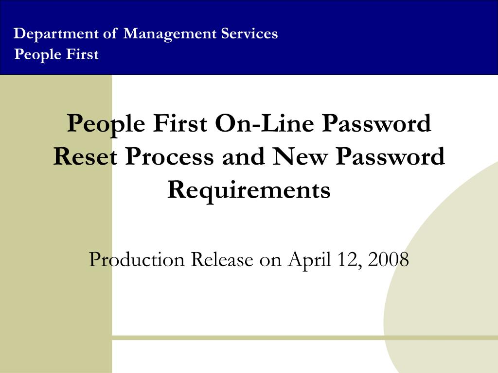people first on line password reset process and new password requirements